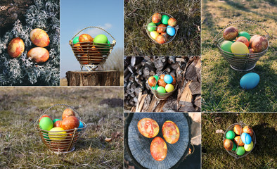 Collage of spring photos with Easter eggs