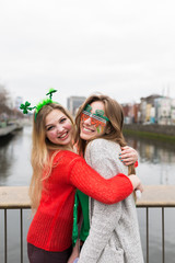 Female Best Friends Having Fun During St Patrick's Day in Dublin