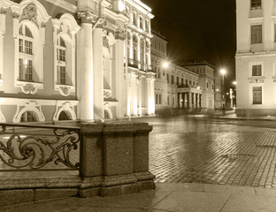 White Nights in St Petersburg. State Hermitage , black-and-white image