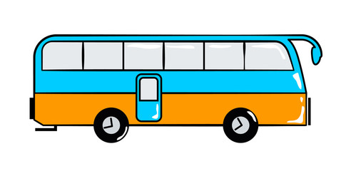 Bus travel cartoon sticker in retro style