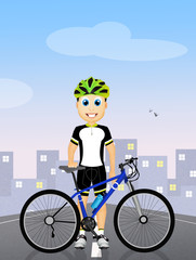 cyclist with bicycle