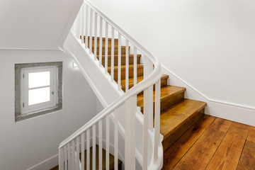 Beautiful Staircase With Hardwood Floor