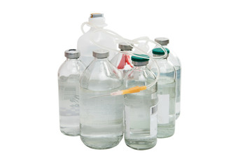 bottle with a solution for injection