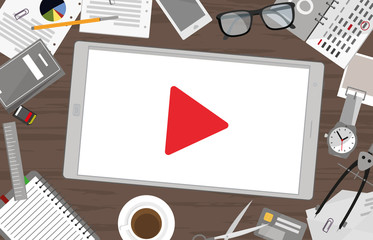 Video Marketing - Tablett mit Play Zeichen
