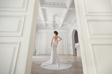 Beautiful bride posing in wedding dress in a white photo Studio.