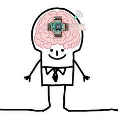 Cartoon Big Brain Man - technologic human