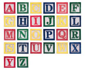Wooden letter blocks of the alphabet