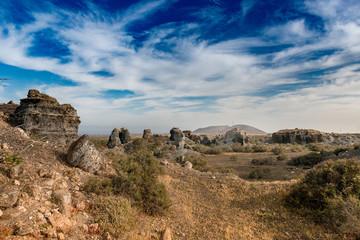 picturesque landscape of Lanzarotte desert and blue sky
