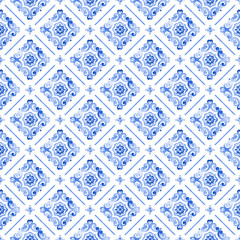 Watercolor blue lace pattern