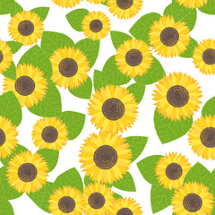 Vector seamless pattern with sunflowers. Sweet honey background for beekeeping products.