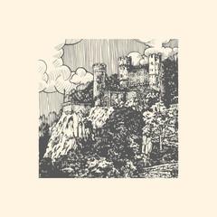 Engraved vector illustration of medieval castle
