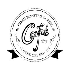 Hand drawn logo for cafe, coffee outlet or coffee company. Vector Illustration