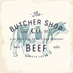 Butcher Shop vintage emblem beef meat products, butchery Logo template retro style. Vintage Design for Logotype, Label, Badge and brand design. vector illustration