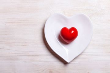 Valentine's Day heart on a plate.love concept for valentines day