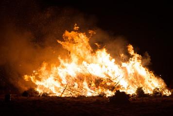 Burning of many Christmas trees after holidays.