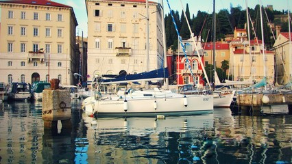 Quay in Piran, the former Venetian Republic, Slovenia, Adriatic Coast