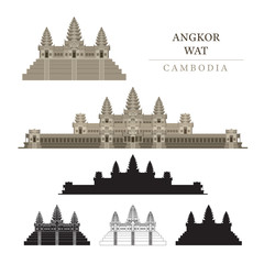 Angkor Wat, Cambodia, Objects, Colourful, Silhouette and Line