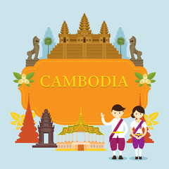 Cambodia Landmarks, People in Traditional Clothing, Frame, Culture, Travel and Tourist Attraction