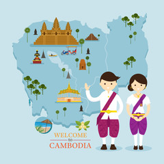 Cambodia Map and Landmarks with People in Traditional Clothing, Culture, Travel and Tourist Attraction