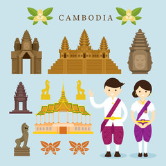 Cambodia Landmarks and Objects Design Elements, Culture, Travel and Tourist Attraction