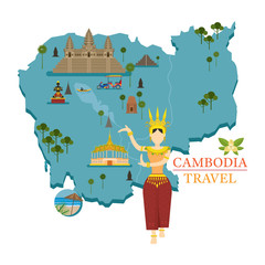 Cambodia Map and Landmarks with Apsara Dancer, Culture, Travel and Tourist Attraction