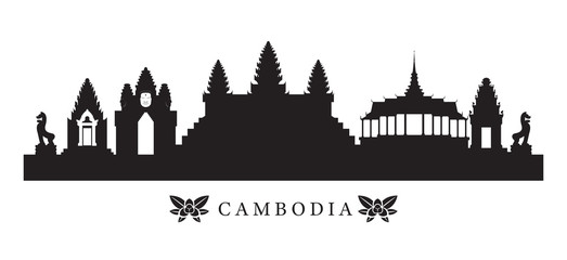 Cambodia Landmarks Skyline in Silhouette, Cityscape, Travel and Tourist Attraction