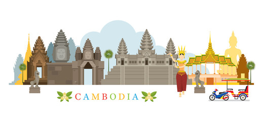 Cambodia Landmarks Skyline, Cityscape, Travel and Tourist Attraction