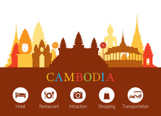 Cambodia Landmarks Skyline with Accommodation Icons, Cityscape, Travel and Tourist Attraction