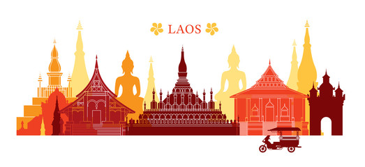 Laos Landmarks Skyline, Colourful, Cityscape, Travel and Tourist Attraction
