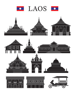 Laos Landmarks and Culture Object Set, Design Elements, Black and White, Line and Silhouette