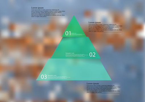 Illustration infographic template with red triangle divided to three parts