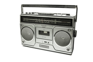 Retro cassette tape recorder on white background