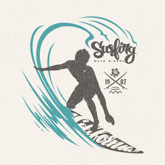 Surfer and big wave. T-shirt design