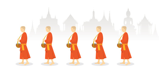 A Row of Buddhist Monks on Alms Round, Thailand Background, Traditional Culture and Travel Attraction