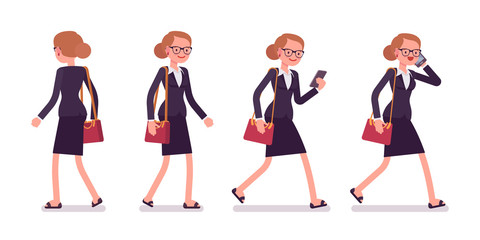 Set of businesswoman in walking poses, rear and front view