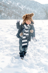 Boy having fun in winter