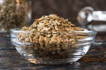 Fennel seeds in an ingredient bowl