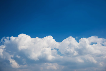 Cumulus cloudscape with blue sky panorama