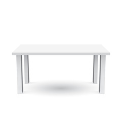 Vector 3d table for object presentation. Empty white top table isolated on white background.
