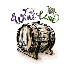 Watercolor grape leaves and wine barrel in graphic style hand-drawn vector illustration