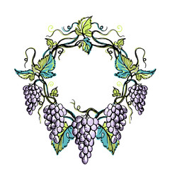 Watercolor wreath from grape and leaves in graphic style hand-drawn vector illustration.