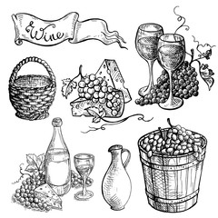Set of wine bottle and wineglasses and grapes in graphic style hand-drawn vector illustration