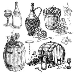 Set of wine bottle and barrel and grapes in graphic style hand-drawn vector illustration