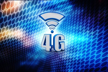 Mobile telecommunication cellular high speed data connection business concept: blue metallic 4G LTE wireless communication technology logo, symbol, icon or button isolated on digital background
