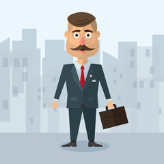 vector illustration of a flat in the style  businesman with  mustache in  gray suit strict business in an urban environment   portfolio