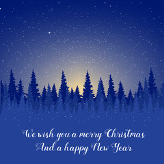 Winter night. Christmas card with a silhouette of the forest and the starry sky.