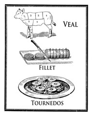 Veal fillet and tournedos and veal butcher table with cuts, vint