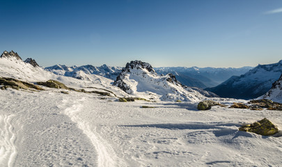 Snowy mountains in the alps