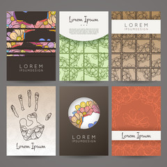 Set of vector design templates. Brochures in random flower style. Business card with floral circle ornament.