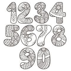 Zentangle numbers set. Collection of doodle numbers with zentangle elements.